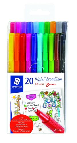 20 Piece Staedtler Triplus Broadliner Art Marker Pen Set, Assorted Colors, New