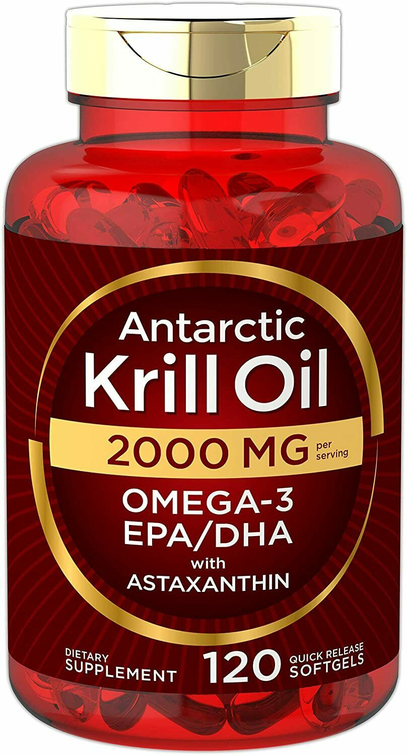 Antarctic Krill Oil 2000 mg 120 Softgels | Omega-3 EPA, DHA,