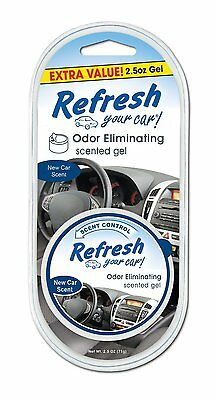 Refresh Car Air Freshener New Car Scent Odour Eliminating Scented Gel.