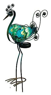 Peacock Outdoor Decor LED Solar Light Garden Statue Glass Metal Bird Yard Stake