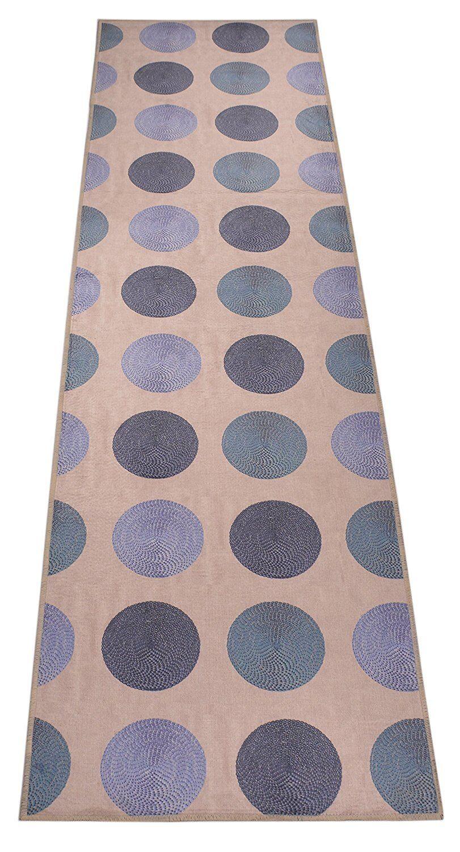 Custom Size Circle Design Runner Rug Polyester Fabric & Non