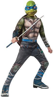 Teenage Mutant Ninja Turtles Boys Leonardo Costume Movie Muscles TMNT Child 8-10