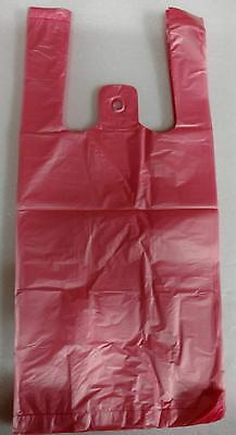100 Red Plastic T-shirt Retail Shopping Grocery Bags Handles Small 6x3x13
