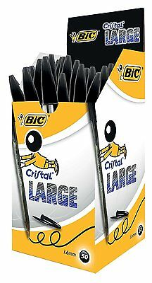 50 Bic Large Cristal Pens 1.6mm In Black With Free Delivery