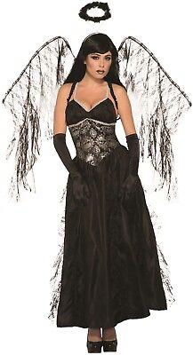 Ladies Full Length Dark Fallen Angel Halloween Fancy Dress Costume Outfit