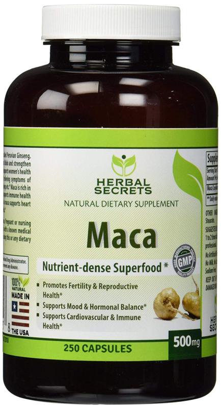 Herbal Secrets Maca 500 Mg 250 Caps Supports Reproductive He