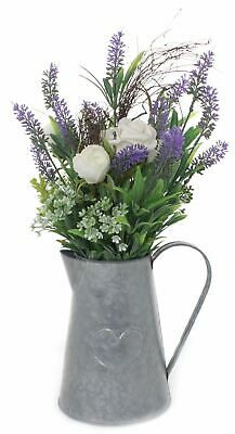 Artificial Ivory Rose And Lavendar In Metal Heart Jug Floral Arrangement Display