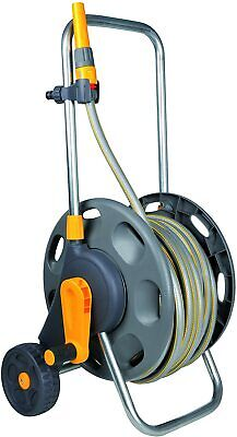 Hozelock 60m 2 in 1 Hose Storage System with 50m of Hose on Wheels Moving Hose