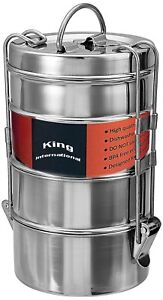 100% Stainless Steel Vintage Wire tiffin box- storage container 10 cm (4 Tier)