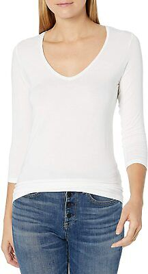 MAJESTIC FILATURES Women's White 3/4 Sleeve Soft Touch V-Neck Size 3 $140 NWT