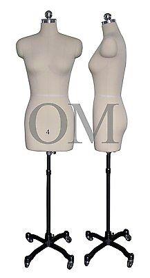 Pinnable Female Mannequin Dress Form W Heavy Duty Rolling Base Size 4 Mt 4