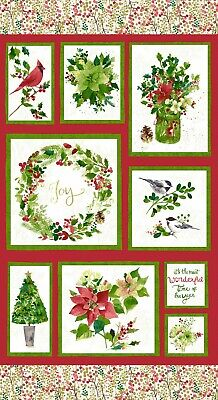 Merry & Bright Christmas Cardinal Fabric Metallic by the 24