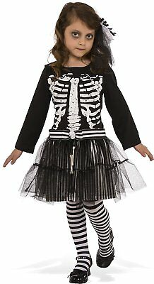 Little Skeleton Girl Bones Skull Scary Fancy Dress Up Halloween Child Costume