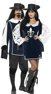 Tv Couple Costumes (Couples Ladies AND Mens Musketeer TV Book Film Fancy Dress Costumes)