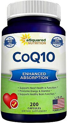 aSquared Nutrition CoQ10 - 400mg Max Strength - 200 Capsules