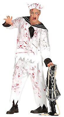Herren Dead Bloody Zombie Matrose marineblau Halloween Kostüm Kleid Outfit M & (Marine Zombie Kostüm)