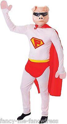 d Schwein Stag Tier Lustige Party Kostüm Kleid Outfit (Rosa Superheld)