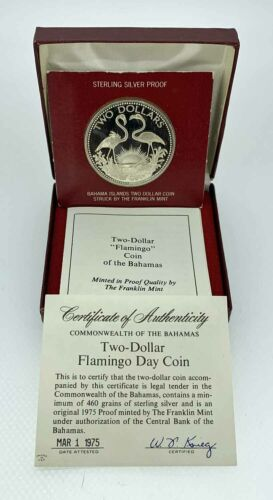 1975 Bahamas Two Dollar Flamingo Proof Silver Coin w/COA - Free Ship US