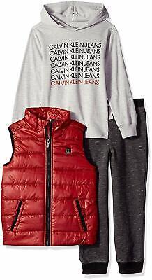 Calvin Klein Boys' 3 Pieces Vest Set - Hooded Tee (3F43005 99, Retail $89.50) Hood Vest Set