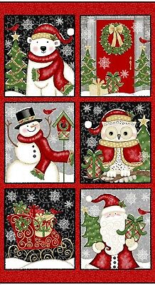 Winter Greetings Santa Owl Polar Bear Snowman Christmas Fabric 23