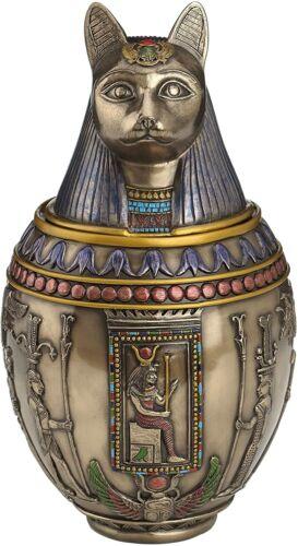 Rare Bastet Egyptian Canopic Jar Hieroglyphic Collectible Pet Cat Memorial