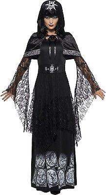 Damen Deluxe Black Magic Halloween Kostüm Kleid Outfit UK 8-22 Übergröße ()