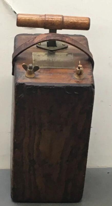 Original Dupont Blasting Machine Dynamite Detonator Box Antique 1800's.