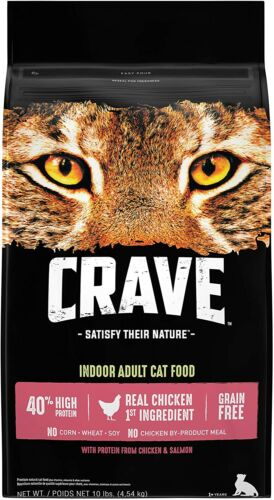 CRAVE Grain Free High Protein Dry Cat Food Chicken & Salmon 10lb