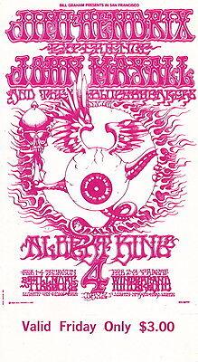Jimi Hendrix Rick Griffin 1968 BG 105 MINT/ORIGINAL Fillmore Ticket