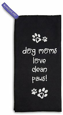 Dog Moms Love Clean Paws Microfiber Cleaning Cloth New Black Drying Fur Feet
