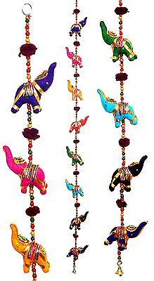 Door Hanging Decorative Cotton Elephants in Vibrant Color Stringed with Beads an