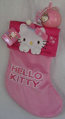 Hello Kitty CHRISTMAS STOCKING LIGHT PINK & BALL ORNAMENT NWT HARD TO FIND!