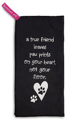 True Friend Paw Prints on Heart Not Floor Dog Microfiber Cleaning Cloth New