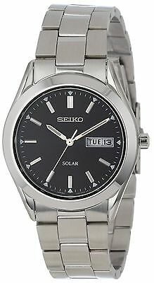 New Seiko Men's SNE039 Silver Stainless Steel Solar Black Dial Day/Date Watch