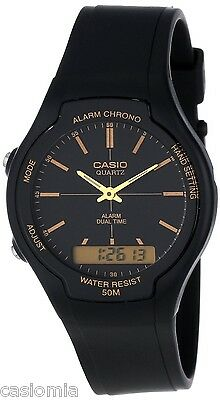 Casio Aw90h 9E Mens Classic Digital Analog 50M Casual Watch Dual Time Alarm New