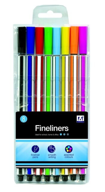 Anker Stationery, 8 Pack Smooth Writing Fineliner Pens - Assorted Colours