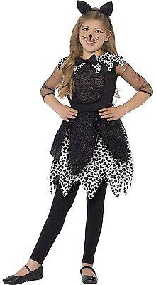 Mädchen Deluxe Mitternachts schwarze Katze Halloween Kostüm Kleid Outfit 4-9
