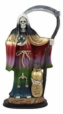 "Large 16.75""H Rainbow Holy Death Santa Muerte Holding Scythe Globe W/ Owl Statue"