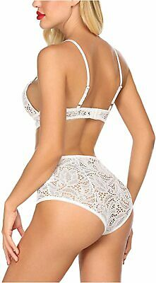 Women s Lingerie Set Floral Lace Bra And Panty Set Sexy, White, Size Large U9uL - $13.99