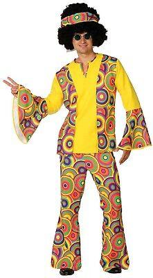 Bunt Sechziger 60er Leuchtend Hippie Kostüm Kleid Outfit (Sechzig Outfits)