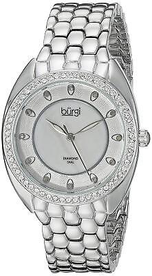Burgi Women's BUR145SS Silver Quartz Watch  Swarovski Crystal Diamond Mother Pea