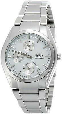 CASIO MTP1191A-7A Mens Analog Multi Function 3- Dial Stainless Steel Watch