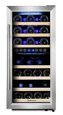 Kalamera KRC-33BSS Weinkühlschrank für 33 Flaschen 2 Zonen für Rot- und Weißwein