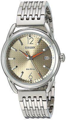 Citizen Eco-Drive Women's Brown Dial Orange Hands Calendar 34mm Watch FE6080-54X