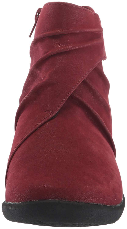 Clarks SILLIAN TANA Womens Burgundy 37567 Side Zip Boots 1