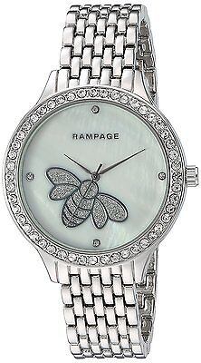 Rampage Watch Crystal Accent MOP Bee Dial Silver Tone Bracelet Women's Watch
