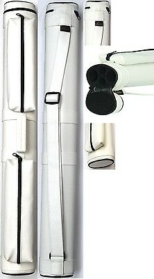NEW Lucasi LC22W 2x2 WHITE Pool Cue Case - Two Accessory Pouches - New (Lucasi Cue Case)