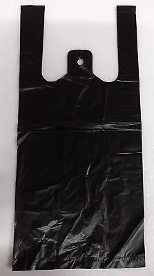 500 Black Plastic T-shirt Shopping Bags Handles Retail Grocery 6