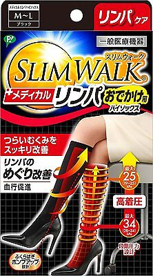 SLIM WALK Medical Lymph High Socks M-L Size Black