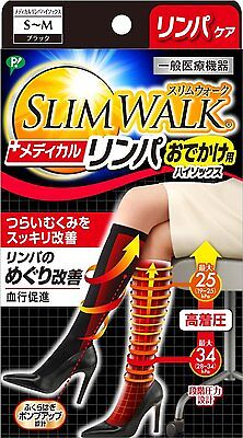 SLIM WALK Medical Lymph High Socks S-M Size Black